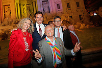Monica Cirinna' e Sergio Lo Giudice<br /> Roma 11-05-2016. Fontana di Trevi. Festeggiamenti per l'approvazione del DDL sulle Unioni Civili. Per l'occasione la Fontana di Trevi e' stata illuminata con i colori arcobaleno, simbolo della comunità' LGBT.<br /> Rome 11th May 2016. Trevi Fountain. Celebration for the approval of the Law on Civil Unions. For the occasion, Trevi Fountain has been lighted with the rainbow colors of the LGBT flag.<br /> Photo Samantha Zucchi Insidefoto