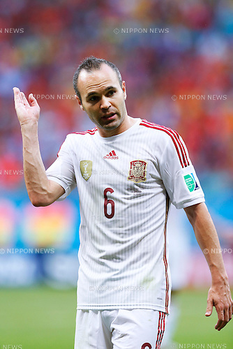 Andres Iniesta (ESP), JUNE 13, 2014 - Football / Soccer : FIFA World Cup Brazil 2014 Group B match between Spain 1-5 Netherlands at Arena Fonte Nova in Salvador, Brazil. (Photo by D.Nakashima/AFLO)