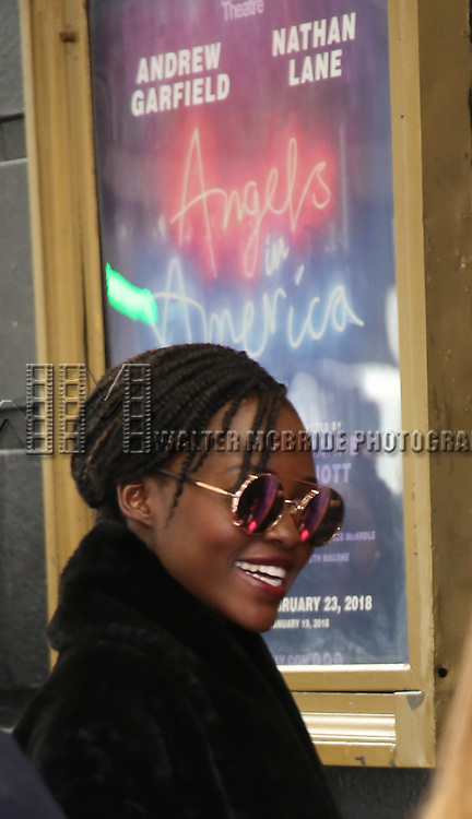 "Lupita Nyongo attends the Broadway Opening Night Arrivals for ""Angels In America"" - Part One and Part Two at the Neil Simon Theatre on March 25, 2018 in New York City."