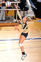 11 September 2011:  FIU outside hitter Una Trkulja (7) serves in the second set as the FIU Golden Panthers defeated the Florida A&M University Rattlers, 3-0 (25-10, 25-23, 26-24), at U.S Century Bank Arena in Miami, Florida.