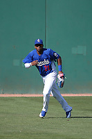 Yusniel Diaz (21) of the Rancho Cucamonga Quakes in centerfield during a game against the Stockton Ports at LoanMart Field on May 28, 2017 in Rancho Cucamonga, California. Stockton defeated Rancho Cucamonga, 7-4. (Larry Goren/Four Seam Images)