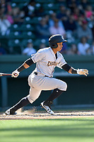Left fielder Ricardo Ferriera (19) of the Charleston RiverDogs bats in a game against the Greenville Drive on Sunday, April 29, 2018, at Fluor Field at the West End in Greenville, South Carolina. Greenville won, 2-0. (Tom Priddy/Four Seam Images)
