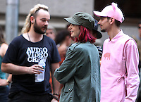 NEW YORK, NY-July 24: Daniel Henshall, Lily Collins, Devon Bostick shooting on location for Netflix & Plan B Enterainment  film Okja in New York. NY July 24, 2016. Credit:RW/MediaPunch