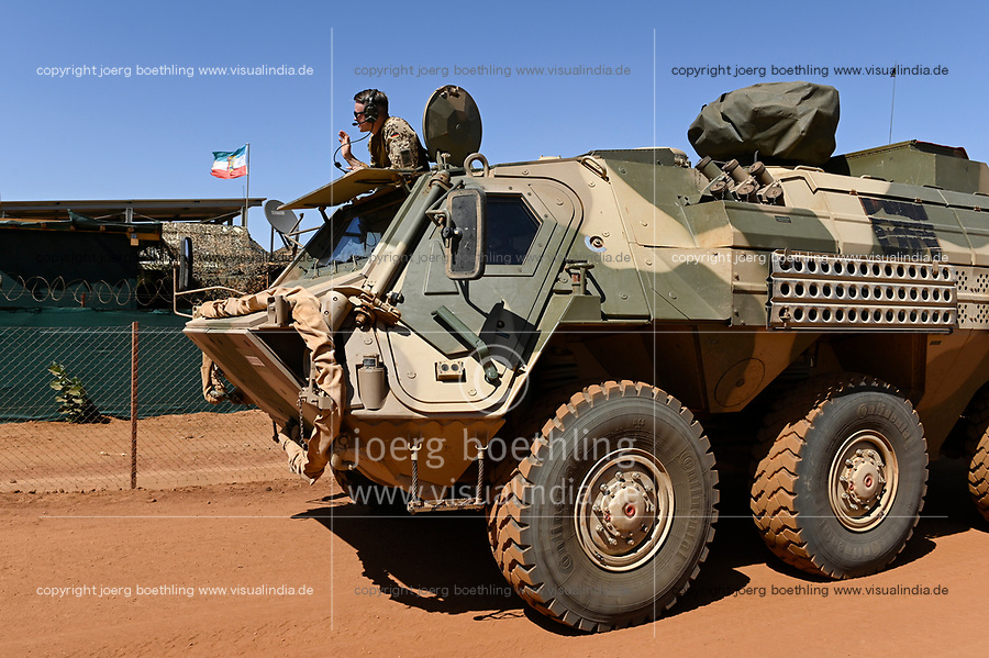 MALI, Gao, Minusma UN peace keeping mission, Camp Castor, german army Bundeswehr, wheeled armored wagon Fuchs (fox) produced by  Rheinmetall AG / Panzerwagen Transportpanzer Fuchs von  Rheinmetall AG