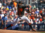 SF Giants' Sergio Romo pitches against the Seattle Mariners in a spring training game in Peoria, Ariz., on Wednesday, March 16, 2016. <br />