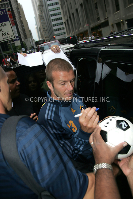 WWW.ACEPIXS.COM . . . . . ....August 17 2007, New York City....Soccer player David Beckham leaving the Los Angeles Galaxy Soccer Team Press Conference at the InterContinental Barclay Hotel in midtown Manhattan.....Please byline: DAVID MURPHY - ACEPIXS.COM.. . . . . . ..Ace Pictures, Inc:  ..(646) 769 0430..e-mail: info@acepixs.com..web: http://www.acepixs.com