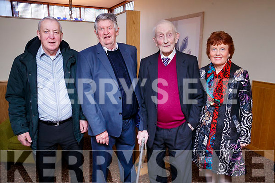 Enjoying the Causeway Senior Citizens Christmas party at Ballyroe Heights Hotel, Tralee on Sunday last were l-r: Sonny Healy, Tom Costello, Barney Cantillon, Geraldine Quilter.