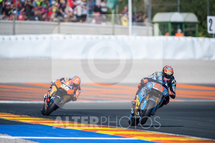 VALENCIA, SPAIN - NOVEMBER 11: Tito Rabat, Mika Kallio during Valencia MotoGP 2016 at Ricardo Tormo Circuit on November 11, 2016 in Valencia, Spain