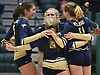 Cathleen Farrell #5, left, and her Bayport-Blue Point celebrate after their 3-1 win over Wheatley in the girls volleyball Class B Long Island Championship at Farmingdale State College on Sunday, Nov. 11, 2018.