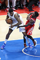 02/22/15 Los Angeles, CA: Los Angeles Clippers center DeAndre Jordan #6 and Houston Rockets guard Patrick Beverley #2 in action  during an NBA game played at Staples Center.