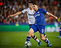 27th November 2019; Mestalla, Valencia, Spain; UEFA Champions League Footballl,Valencia versus Chelsea; Mateo Kovacic of Chelsea is challenged by Carlos Soler of Valencia CF - Editorial Use