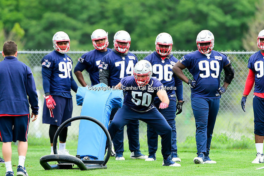 June 7, 2017: New England Patriots defensive end Rob Ninkovich (50) works with a tackle dummy the New England Patriots mini camp held on the practice field at Gillette Stadium, in Foxborough, Massachusetts. Eric Canha/CSM