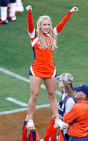 A Virginia Cavalier cheerleader performs during the game against Maryland in Charlottesville, Va. Maryland defeated Virginia 27-20.