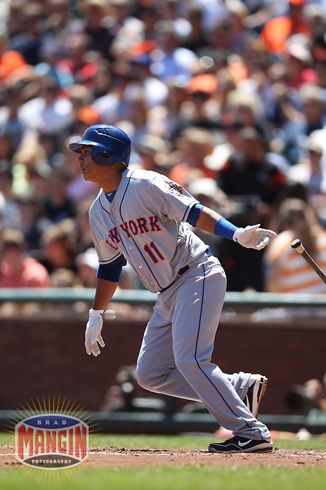 SAN FRANCISCO, CA - AUGUST 2:  Ruben Tejada #11 of the New York Mets bats against the San Francisco Giants during the game at AT&T Park on Thursday, August 2, 2012 in San Francisco, California. Photo by Brad Mangin