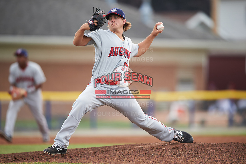 Auburn Doubledays starting pitcher Ben Braymer (33) delivers a pitch during a game against the Batavia Muckdogs on July 6, 2017 at Dwyer Stadium in Batavia, New York.  Auburn defeated Batavia 4-3.  (Mike Janes/Four Seam Images)