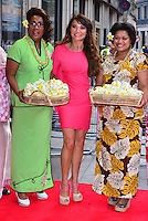 Lizzie Cundy<br /> The &quot;Bula Quo!&quot; UK film premiere, Odeon West End cinema, Leicester Square, London, England.<br /> July 1st, 2013<br /> full length pink dress baskets flowers green yellow white brown pattern<br /> CAP/BF<br /> &copy;Bob Fidgeon/Capital Pictures