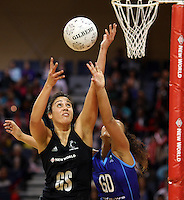 07.08.2010 Silver Ferns Daneka Wipiiti and Samoa's Italia Tipelu in action during the Silver Ferns v Samoa netball test match played at Te Rauparaha Arena in Porirua  Wellington. Mandatory Photo Credit ©Michael Bradley.