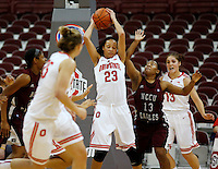 Ohio State's Martina Ellerbe (23) hangs onto a rebound during a women's basketball game between the Ohio State Buckeyes and the North Carolina Central Eagles at Value City Arena on Sunday, December 29, 2013. (Columbus Dispatch photo by Fred Squillante)