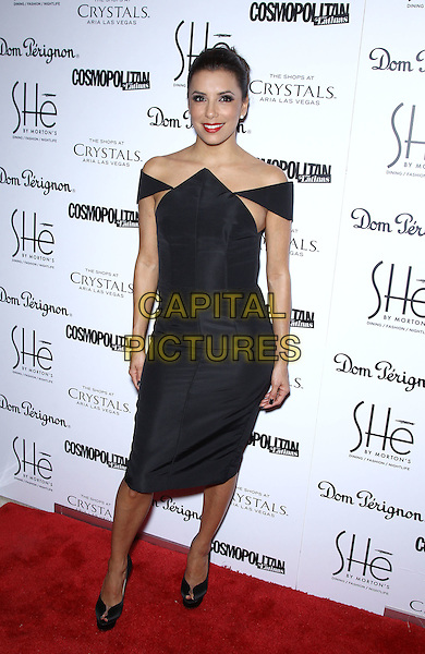 Eva Longoria.Grand Opening of SHe by Morton's inside Crystals at City Center, Las Vegas, NV, USA, 2nd February 2013..full length black off the shoulders dress peep toe shoes  pointed side boob .CAP/ADM/MJT.© MJT/AdMedia/Capital Pictures.