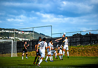 Ben Harris rises for a header during the Oceania Football Championship final (second leg) football match between Team Wellington and Auckland City FC at David Farrington Park in Wellington, New Zealand on Sunday, 7 May 2017. Photo: Dave Lintott / lintottphoto.co.nz