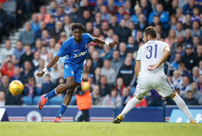09.08.18 Rangers v Maribor: Ovie Ejaria crosses in