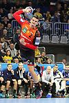 Torschuss von Rhein Neckar Loewe Andy Schmid (Nr.2)  beim Spiel in der Champions League, Rhein Neckar Loewen - Montpellier HB.<br /> <br /> Foto &copy; PIX-Sportfotos *** Foto ist honorarpflichtig! *** Auf Anfrage in hoeherer Qualitaet/Aufloesung. Belegexemplar erbeten. Veroeffentlichung ausschliesslich fuer journalistisch-publizistische Zwecke. For editorial use only.