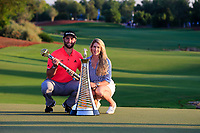 Jon Rahm (ESP) winner of the DP World Tour Championship and Race to Dubai with fiance Kelly at the Jumeirah Golf Estates, Dubai, United Arab Emirates. 24/11/2019<br /> Picture: Golffile | Fran Caffrey<br /> <br /> <br /> All photo usage must carry mandatory copyright credit (© Golffile | Fran Caffrey)