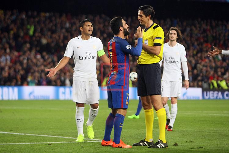 UEFA Champions League 2016/2017.<br /> Round of 16 2nd leg<br /> FC Barcelona vs Paris Saint-Germain: 6-1.<br /> Arda Turan &amp; Deniz Aytekin.