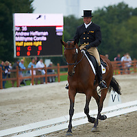 Andrew Heffernan (NED) riding Millthyme Corolla during the dressage test at Malmo City Horse Show. FEI World Cup Eventing Qualifier CIC***.<br /> The couple was with 62,84 % placed 24th after Friday's dressage.<br /> Eventing in Ribersborg, Malmo, Sweden.<br /> August 2011.<br /> Only for editorial use.