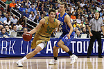 10 March 2016: Notre Dame's Steve Vasturia (32) moves past Duke's Luke Kennard (5). The University of Notre Dame Fighting Irish played the Duke University Blue Devils at the Verizon Center in Washington, DC in the Atlantic Coast Conference Men's Basketball Tournament quarterfinal and a 2015-16 NCAA Division I Men's Basketball game. Notre Dame won the game 84-79 in overtime.