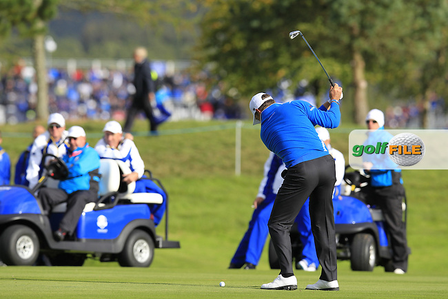 Lee Westwood (EUR) plays the 2nd shot on the 12th hole during the Friday afternoon foursome matches at the 2014 Ryder Cup at Gleneagles. The 40th Ryder Cup is being played over the PGA Centenary Course at The Gleneagles Hotel, Perthshire from 26th to 28th September 2014.: Picture Eoin Clarke, www.golffile.ie: \9/26/2014\