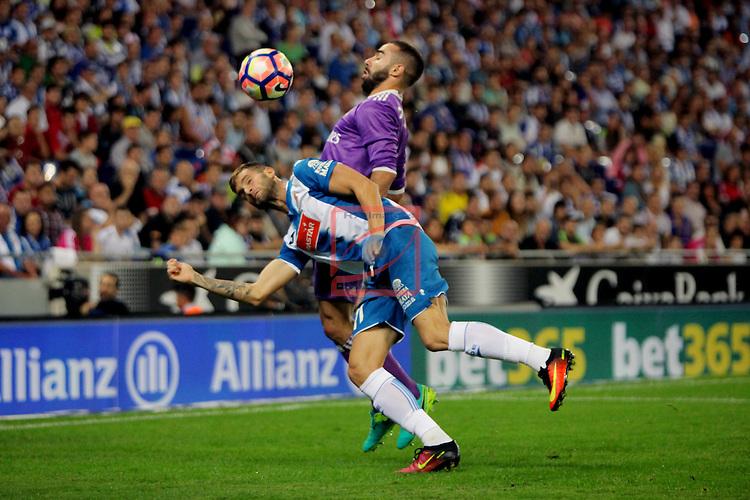 League Santander 2016/2017. Game: 4.<br /> RCD Espanyol vs R. Madrid: 0-2.<br /> Leo Baptistao vs Daniel Carvajal.