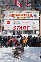 Dallas Seavey team leaves the start line during the restart day of Iditarod 2009 in Willow, Alaska