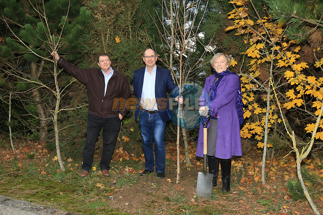 Éanna NÍ Lamhna of the Tree Council of Ireland, with Brendan Fitzsimons (CEO Tree Council of Ireland) and Colm Conyngham (Marketing and Public Relations Manager) planting a tree at the Bridgestone Balbriggan Service Centre, Unit 13 KVS Business Park, Balbriggan, Co. Dublin, Ireland on Friday 22nd November 2019.<br /> Picture:  Thos Caffrey / Newsfile<br /> <br /> All photo usage must carry mandatory copyright credit (© Newsfile | Thos Caffrey)