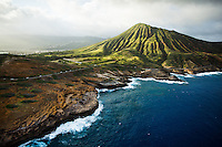An aerial view of the shoreline near Koko Crater right before sunset, East O'ahu.