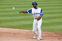 26 july 2010: Felix Brown of France throws the ball to first base during France 10-2 victory over Ukraine, in day 4 of the 2010 European Championship Seniors, in Neuenburg, Germany.