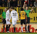 Nederland, Breda, 24 maart 2012.Eredivisie .Seizoen 2011-2012.NAC-N.E.C. (1-1) .Scheidsrechter Ed Janssen geeft Nourdin Boukhari een rode kaart
