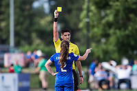 Boston, MA - Saturday July 01, 2017: Referee Elvis Osmanovic issues a yellow card to Allysha Chapman during a regular season National Women's Soccer League (NWSL) match between the Boston Breakers and the Washington Spirit at Jordan Field.