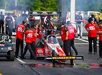 May 4, 2018; Commerce, GA, USA; Crew members for NHRA top fuel driver Doug Kalitta during qualifying for the Southern Nationals at Atlanta Dragway. Mandatory Credit: Mark J. Rebilas-USA TODAY Sports