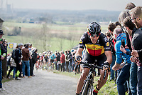 Philippe Gilbert (BEL/Quick Step floors) charging hard up the Paterberg as race leader & thus further thinning the lead group<br /> <br /> 72nd Dwars Door Vlaanderen (1.UWT)<br /> 1day race: Roeselare › Waregem BEL (203.4km)