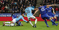 Manchester City's Gabriel Jesus competing with Leicester City's Hamza Choudhury<br /> <br /> Photographer Andrew Kearns/CameraSport<br /> <br /> English League Cup - Carabao Cup Quarter Final - Leicester City v Manchester City - Tuesday 18th December 2018 - King Power Stadium - Leicester<br />  <br /> World Copyright &copy; 2018 CameraSport. All rights reserved. 43 Linden Ave. Countesthorpe. Leicester. England. LE8 5PG - Tel: +44 (0) 116 277 4147 - admin@camerasport.com - www.camerasport.com
