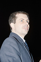Democratic presidential candidate Pete Buttigieg arrives to speak at a campaign event at the Currier Museum of Art in Manchester, New Hampshire, USA, on Fri., Apr. 5, 2019. The venue was filled to capacity about an hour before the candidate's arrival, so Buttigieg delivered an impromptu speech to those denied entry outside the museum before the official event. Buttigieg is the mayor of South Bend, Indiana, and was widely considered a long-shot candidate until his appearance in a CNN town hall in March 2019 which catapulted his campaign to prominence and substantial donations.