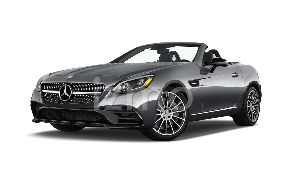 Stock pictures of low aggressive front three quarter view of 2017 Mercedes Benz SLC-Roadster AMG-SLC43 2 Door Convertible Low Aggressive