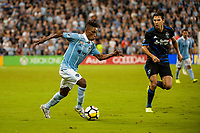 Kansas City, KS - Wednesday August 9, 2017: Latif Blessing during a Lamar Hunt U.S. Open Cup Semifinal match between Sporting Kansas City and the San Jose Earthquakes at Children's Mercy Park.