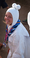Female Scout from Belgium, dressed as Icebear heading for the arena event on time road. Photo: André Jörg/ Scouterna