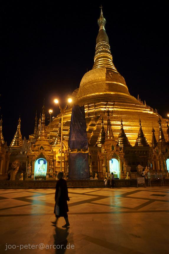 Shwedagon pagoda  at night, Yangon, Myanmar, 2011