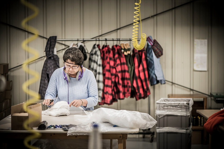 Quality control at the Stormy Kromer manufacturing facility in Ironwood, Michigan.