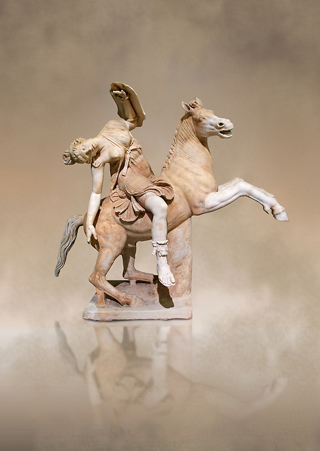 Roman marble sculpture of an Amazon on horseback, a 2nd century AD copy from an original 2nd century BC Hellanistic Greek original, inv 6407 Farnese Collection, Naples , Naples Museum of Archaeology, Italy