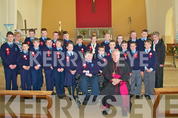 .Moyvane & Knockanure Confirmation in Moyvane Church on Thursday last.. .Back Row: L to R.Julienne Donegan - Principal - Scoil Chorp Chri?ost, Knockanure.Pa?draig Dowling, Toma?s Moore, Richard O'Sullivan, Jack Goulding, Gavin Kennelly, Marie O'Flaherty, Lisa Mulvihill, A?ine O'Connor, Emer Galvin, Jack Harrison..Mary Madden - Principal - Murhur N.S., Moyvane. .Front Row: L to R.Cillian Doody, Jerry Clancy, Shane Carmody, Shane Winter, Darren Doody, Carol Clancy, Dylan Quinn, Colin Enright, Kieran Curran, Donal Stack, Jordan Housden.. .Seated at front:   Tommy Stack - wheelchair and Bishop Murphy.