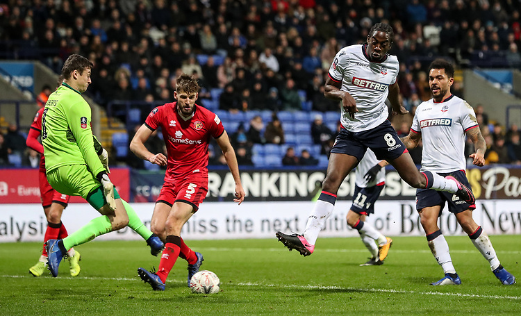 Bolton Wanderers' Clayton Donaldson scoring his side's third goal<br /> <br /> Photographer Andrew Kearns/CameraSport<br /> <br /> Emirates FA Cup Third Round - Bolton Wanderers v Walsall - Saturday 5th January 2019 - University of Bolton Stadium - Bolton<br />  <br /> World Copyright © 2019 CameraSport. All rights reserved. 43 Linden Ave. Countesthorpe. Leicester. England. LE8 5PG - Tel: +44 (0) 116 277 4147 - admin@camerasport.com - www.camerasport.com